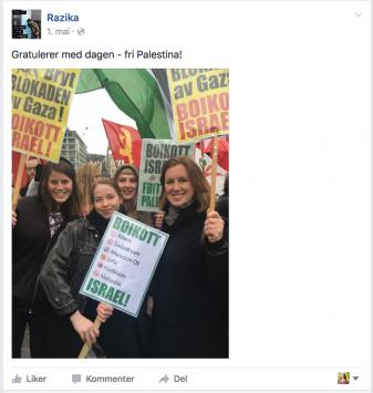 Razika på 1. mai. Anbefaler ikke å lese kommentarfeltet på denne facebook-posten på siden deres. Den er overtatt av folk som er veldig glad i Israel og ikke så glad i palestinere.