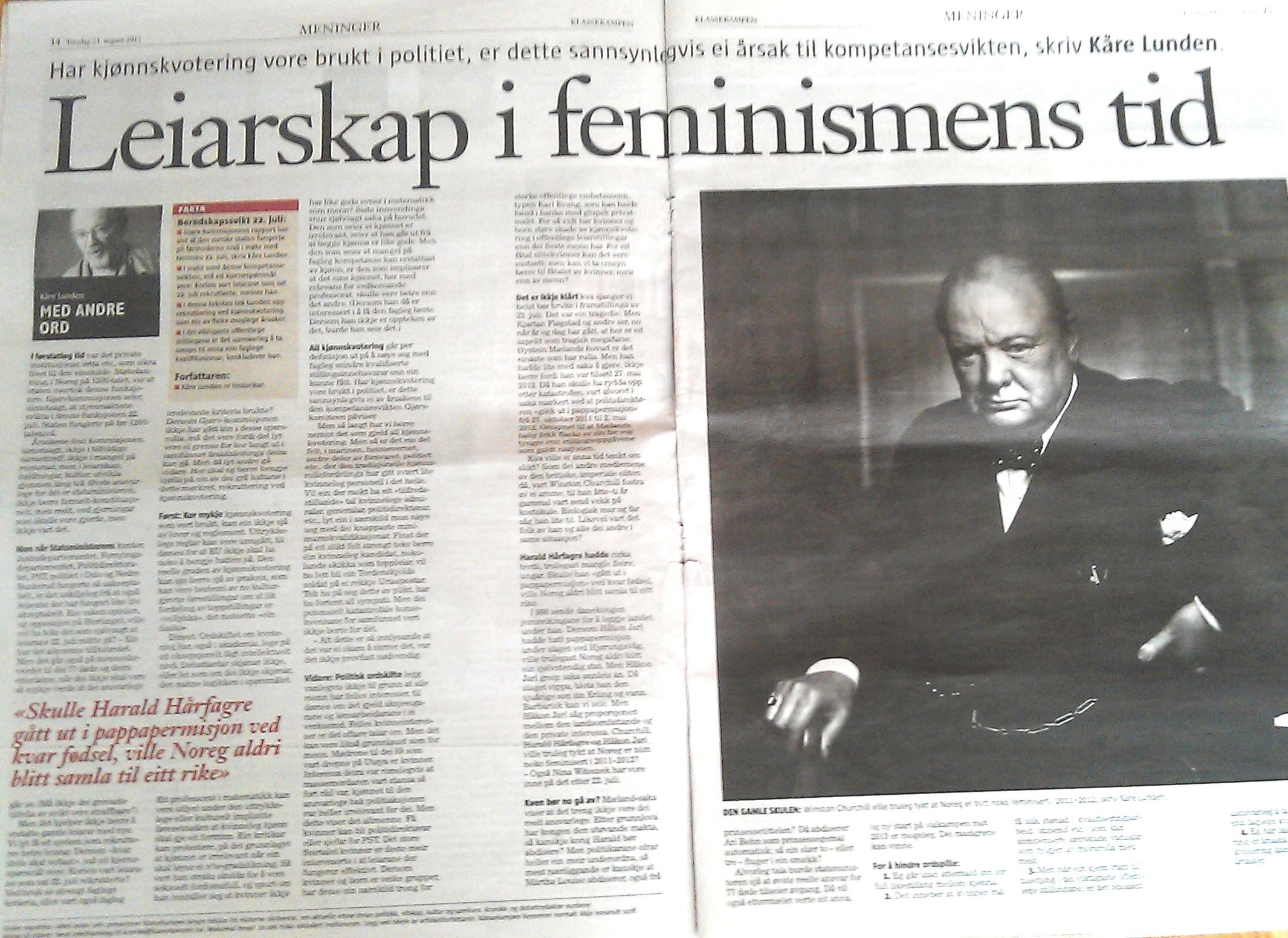 Faksimile av Lundens tekst i Klassekampen