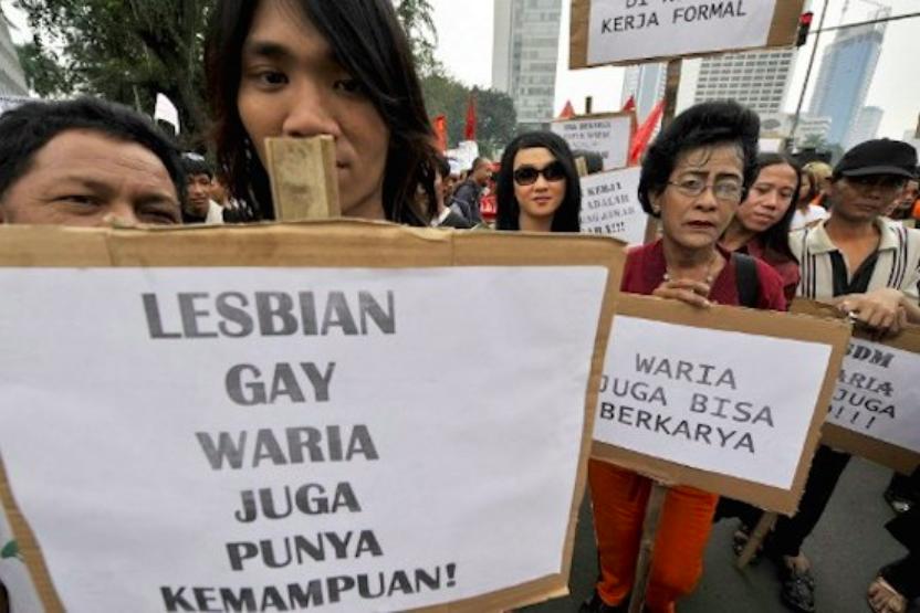 Demonstrasjon i Yogyakarta i Indonesia i 2016 for LGBT rettigheter.
