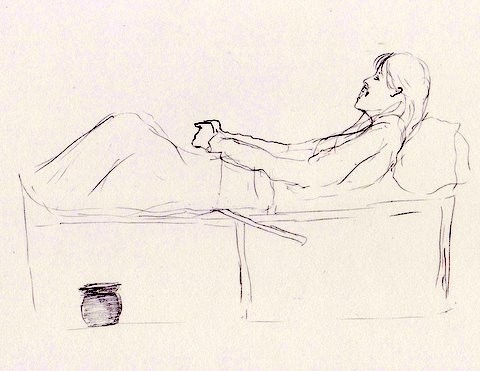 Tegning av syk kvinne på bekken.
