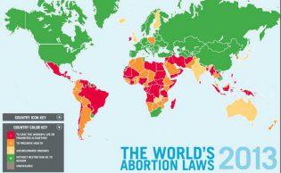 Oversikt over hvor abort er lovlig. Kilde: womenonwaves.org/ center for reproductive rights